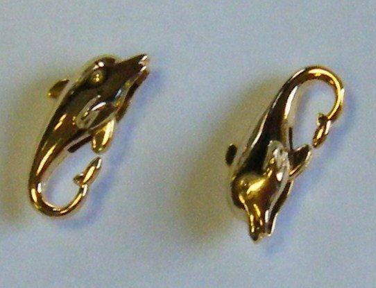 chiusura moschettone  delfino in metallo dorato