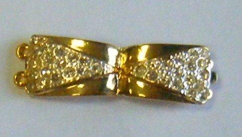 chiusura a 2  fili in metallo dorato e strass