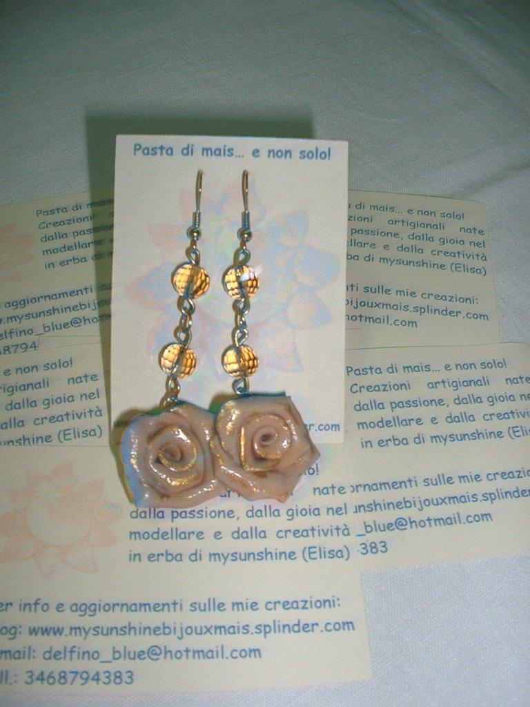 orecchini rosa oro