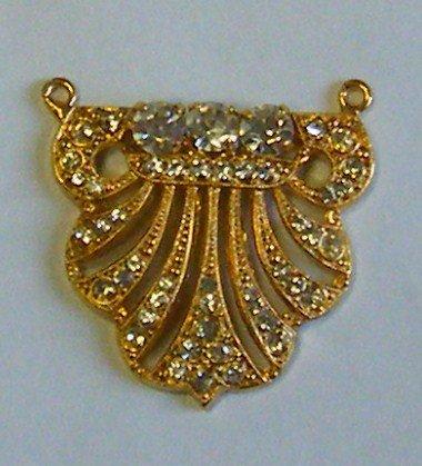 ciondolo, centrale per collana , in metallo dorato ne strass