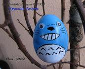 Totoro blu, uovo decorato