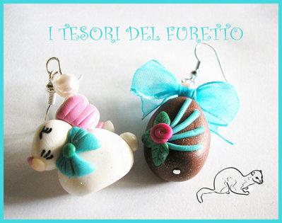 """Orecchini """"Coniglietto di Pasqua + Ovetto"""" fimo cernit kawaii"""