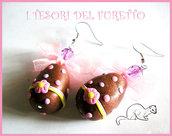 """Orecchini """"Pasqua Ovetti al cioccolato"""" fimo cernit kawaii"""