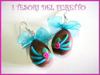 """Orecchini """"Pasqua ovetti al cioccolato"""" mod. rosellina fucsia/turchese"""