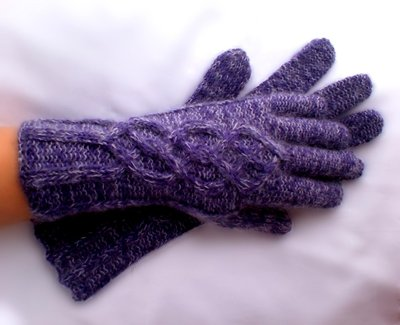 Purple Gloves with Merino and Silk-Mohair
