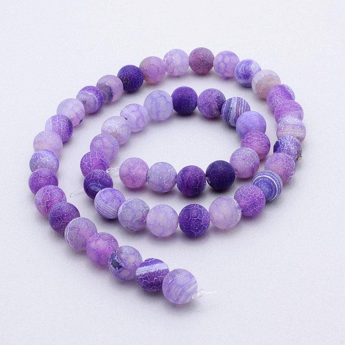 5 perle agata di fuoco viola