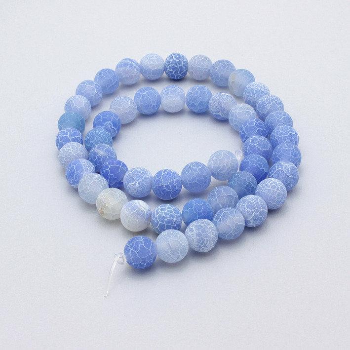 5 perle agata di fuoco azzurra