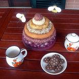 Cartamodello per un originale coprivivande, copri biscotti, copri pane, copri torta in stoffa a forma di alveare