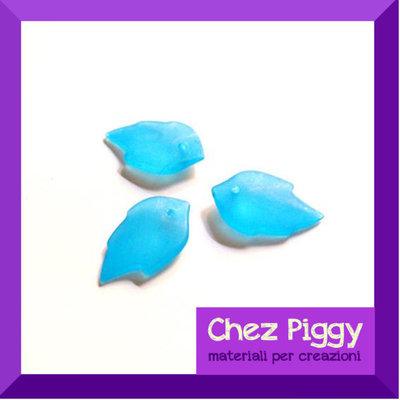 25 x perle a forma di foglia - colore BLU