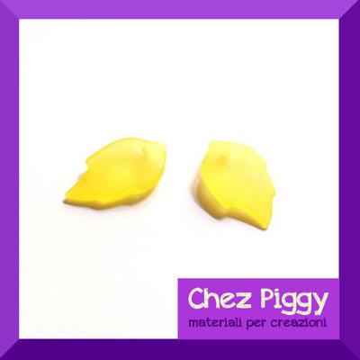 25 x perle a forma di foglia - colore giallo