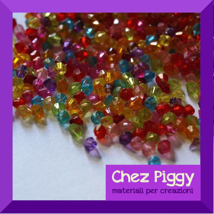 100 x perline BICONO acriliche - colori MISTI
