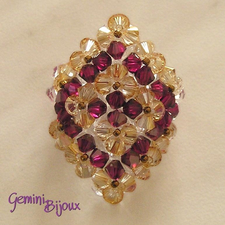 Anello Swarovski Crystal Brandy e Ruby Satin