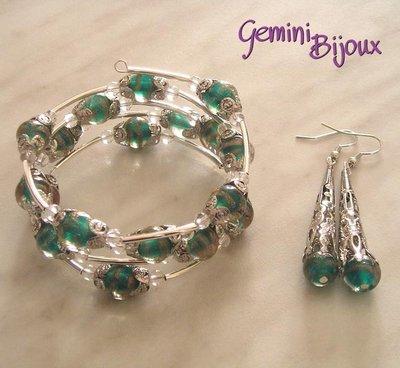 Bracciale + Orecchini perle blue zircon