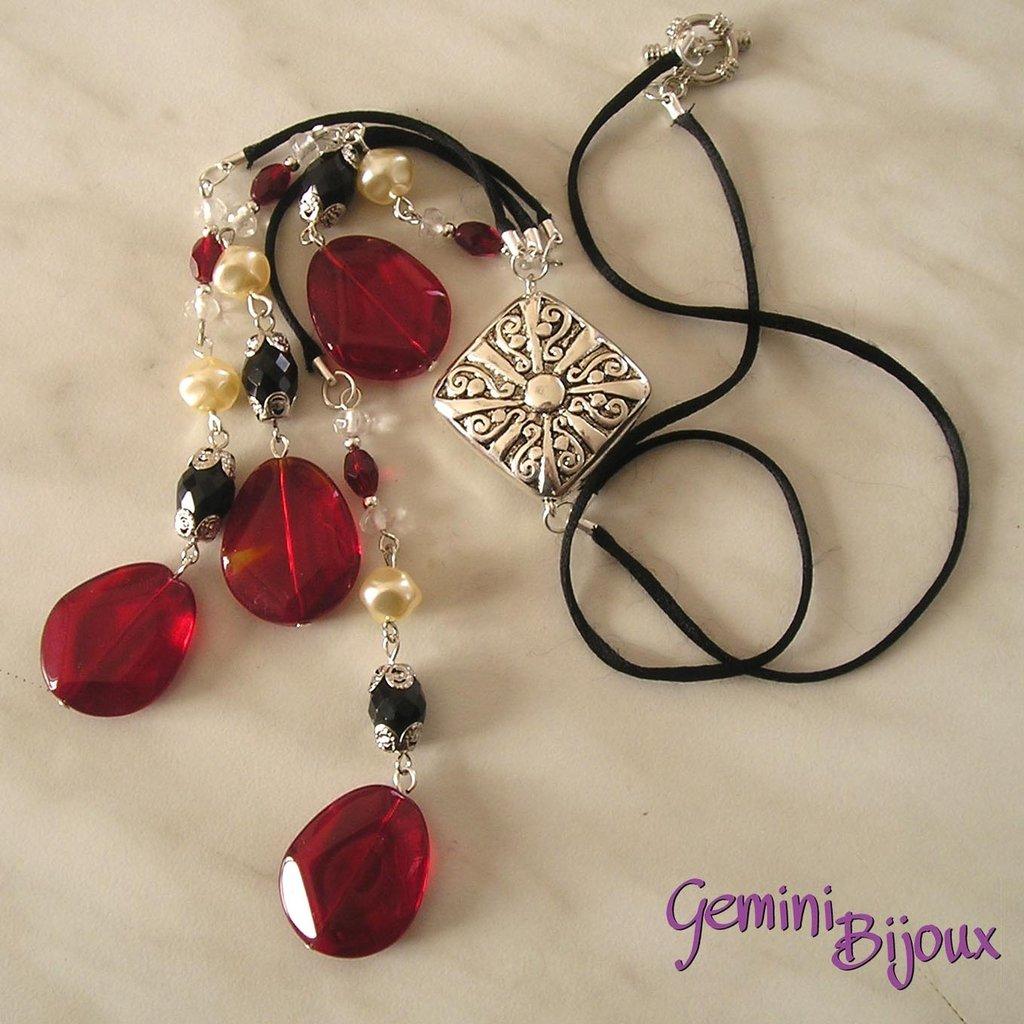 Collana rosso nero argento