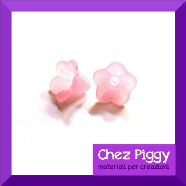 20 x perle a forma di fiore a campanellino ROSA
