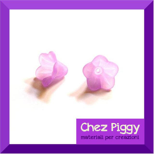 20 x perle a forma di fiore a campanellino VIOLA