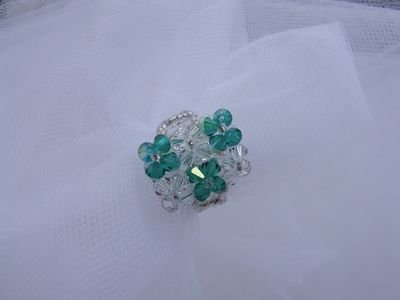 Anello in cristalli Swarovski color verde smeraldo e cristall - cod. E5