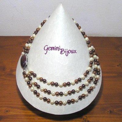 Collana tre file perle e diaspro