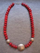 Collana corallo bambù e argento indiano