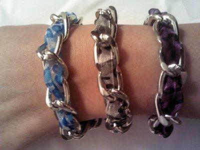 bracciale catena in metallo e organza