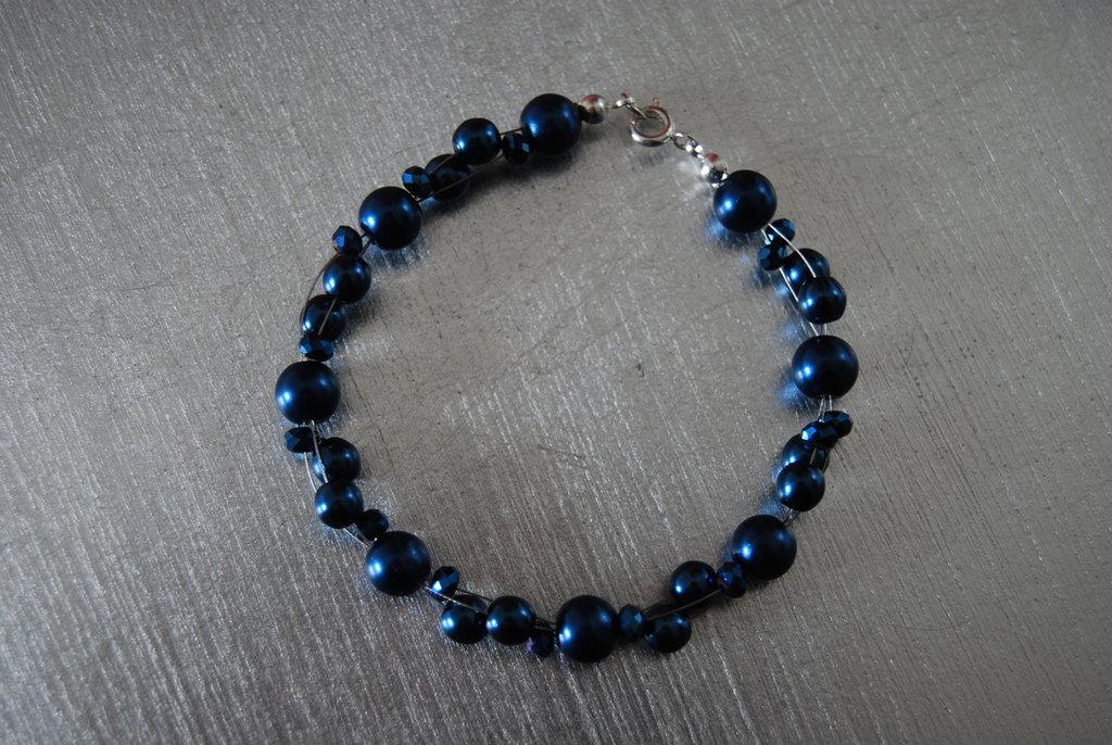 Bracciale di perle sospese (Blu)