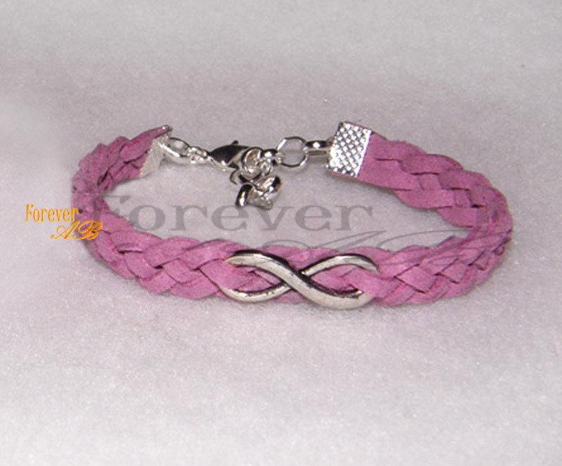 Bracciale intrecciato pelle alcantara lilla simbolo 'Infinito' donna regalo