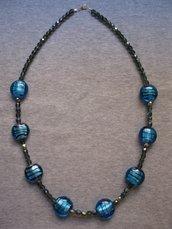 Collana lunga cristalli Boemia e perle in vetro blu elettrico