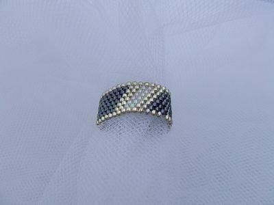 """Anello a fascia in tessitura """"peyote"""" con perline in vetro Miyuki - cod. E8"""