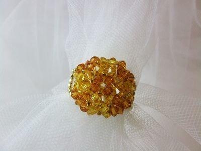 """Anello in cristallo Swarovski modello """"Octavian"""" color ambra e giallo - cod. E9"""