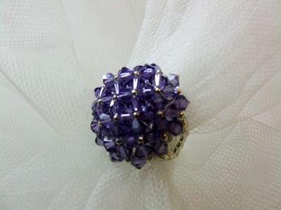 """Anello in cristallo Swarovski modello """"Octavian"""" color viola - cod. E12"""