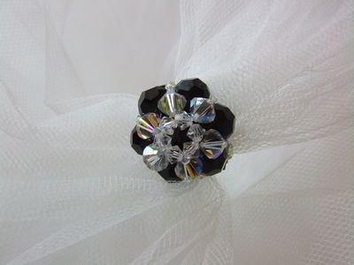 Anello in cristallo Swarovski color nero e cristall - cod. E13