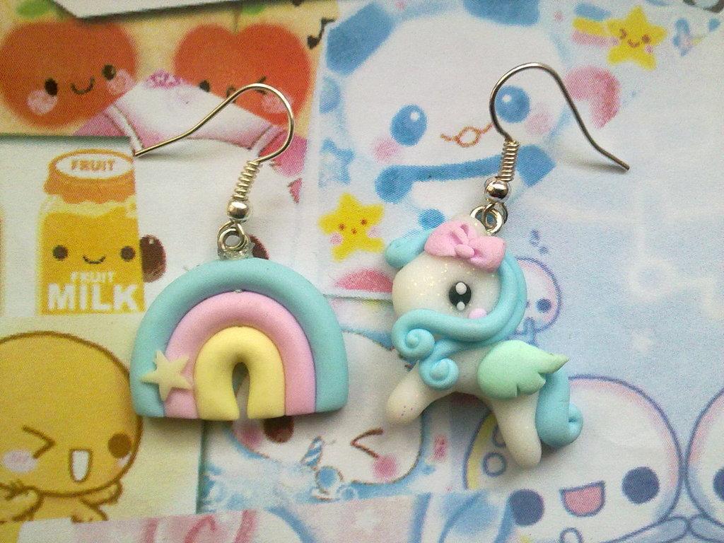 Orecchini in fimo Mini Pony azzurro