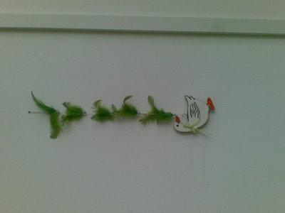 piume verdi con oca