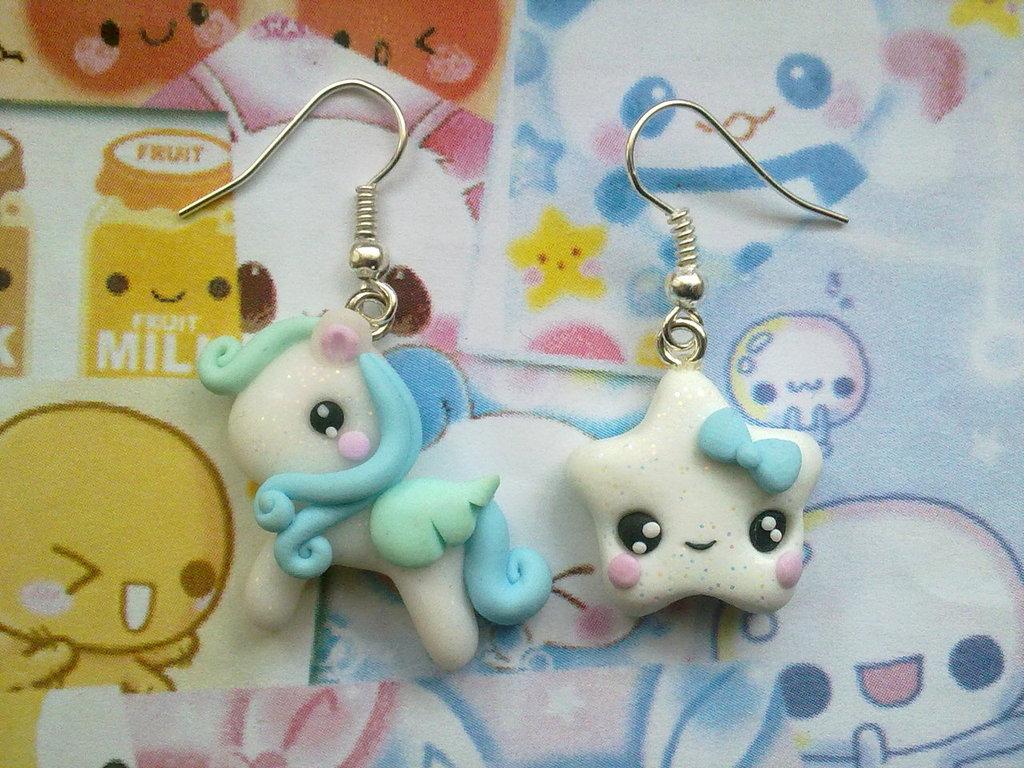 Orecchini in fimo Mini Pony azzurro + stella