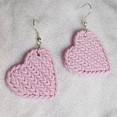Orecchini cuore in fimo blu lilla rosa effetto maglia