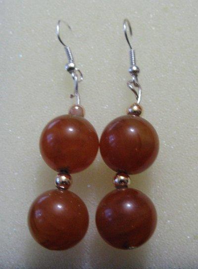 Orecchini fatti a mano con perle color ambra