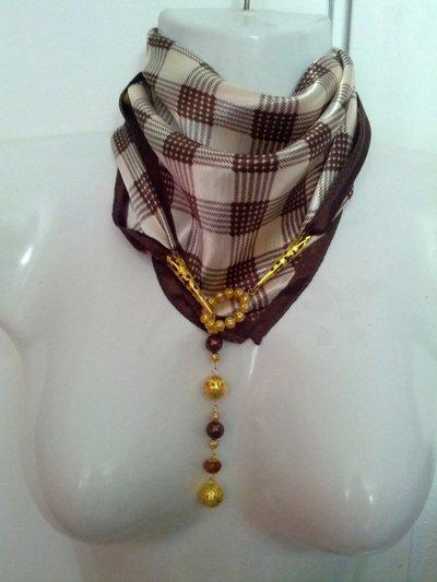 foulard gioiello con filigrana, perle e cristalli