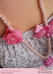Pink Lilac Wedding Cake Necklace