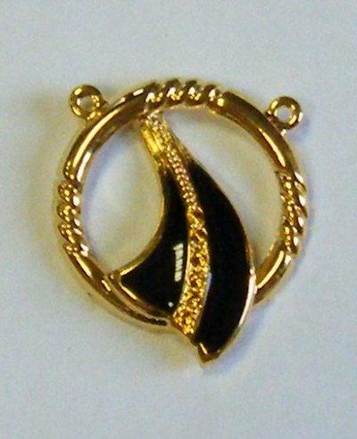 base per centrale collana in metallo dorato e smalto nero