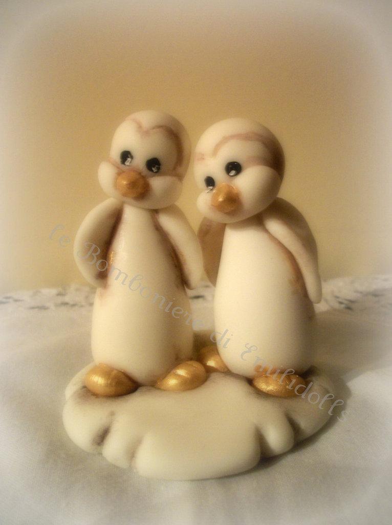 Cake Topper  Pinguini Innamorati