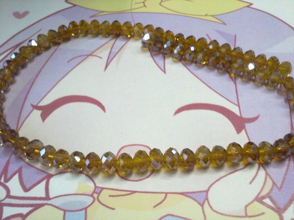 Perle vetro sfaccettato color topazio