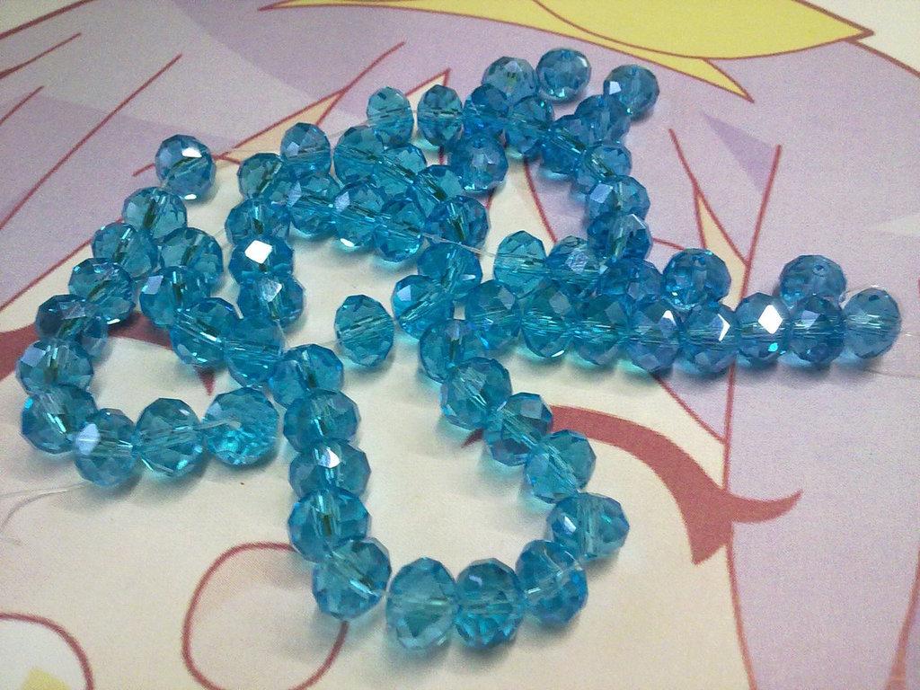 Perle vetro sfaccettato color turchese