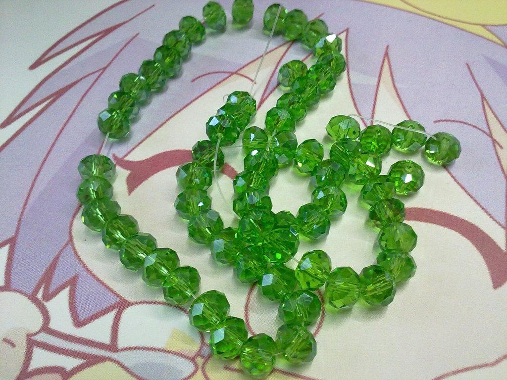Perle vetro sfaccettato color smeraldo