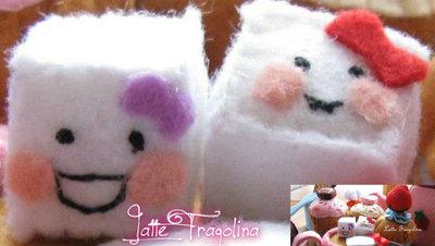 Zollette zucchero giocattolo in feltro realizzato a mano.
