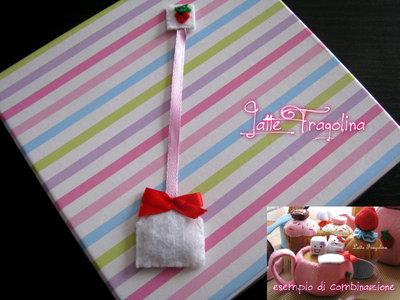 Bustina del tè giocattolo in feltro realizzato a mano.