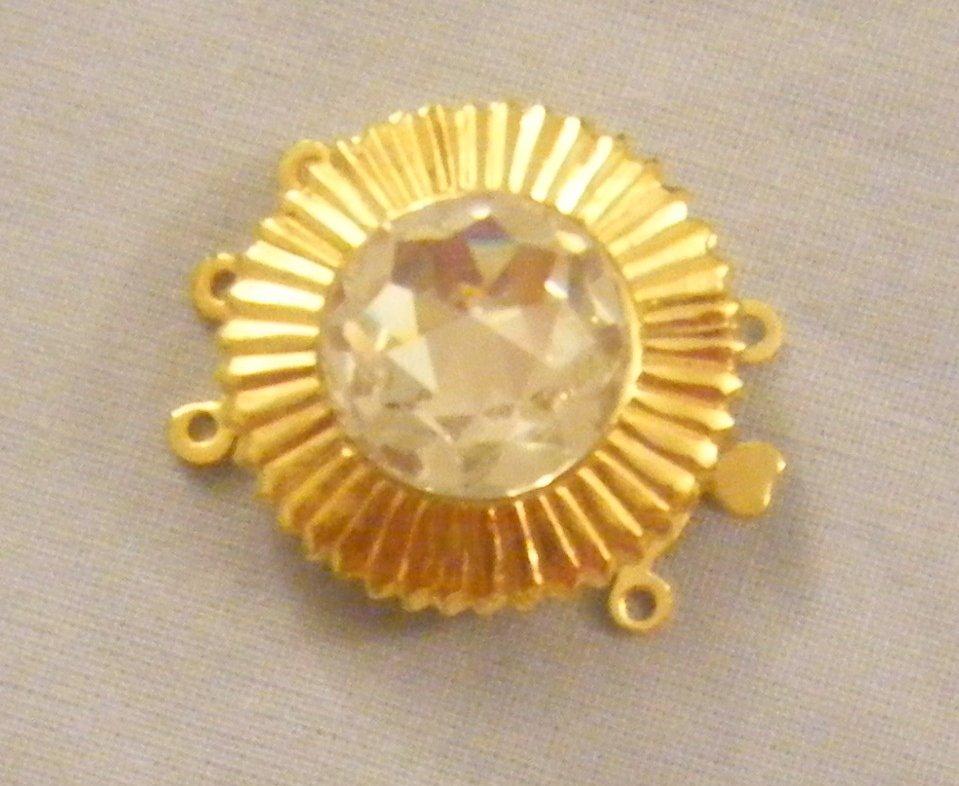 chiusura a 3 fili in metallo dorato e cristallo  swarovski