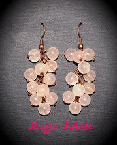 Orecchini con perline in quarzo rosa