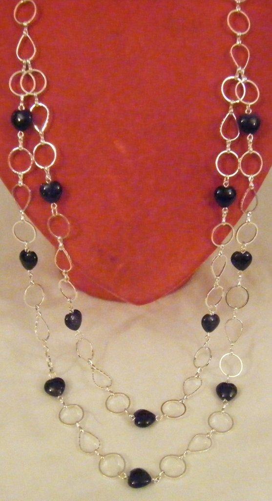 collana a 2 giri con pietre dure ,pietra della luna, a forma di cuore e catena in metallo colore argento