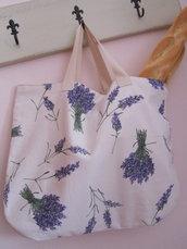 Borsa per la spesa con stampa lavanda- Shopping bag