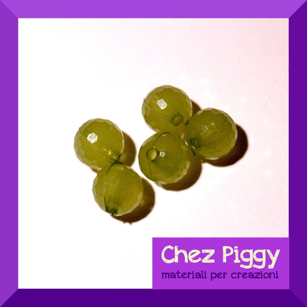 20 x perle sfaccettate - VERDE